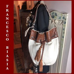 FRANCESCO BIASIA CREAM FABRIC/BROWN PU HOBO BAG